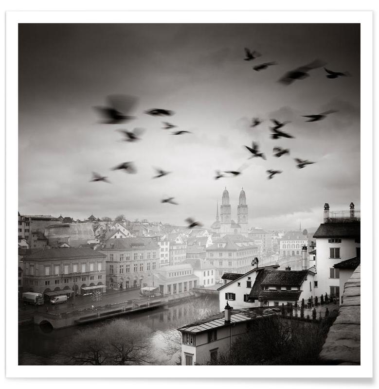 Monuments et vues, Zurich, Lindenhof View affiche