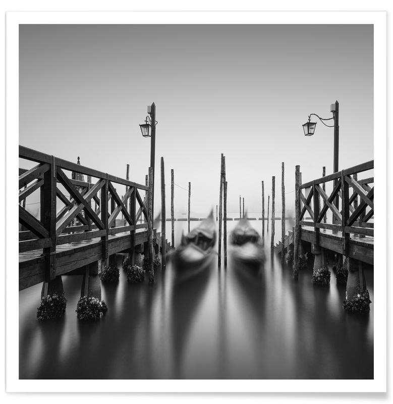 Venedig, Schwarz & Weiß, Reise, Venezia - Gondola - Study -Poster