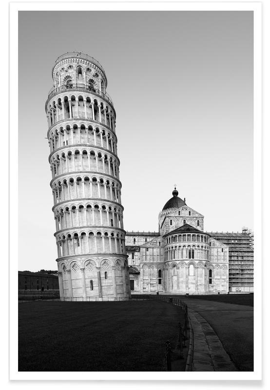 Black & White, Sights & Landmarks, Pisa - Torre Di Pisa Poster