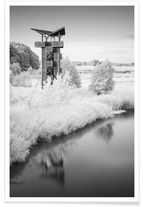 Noir & blanc, Mescherin Tower - Brandenburg affiche