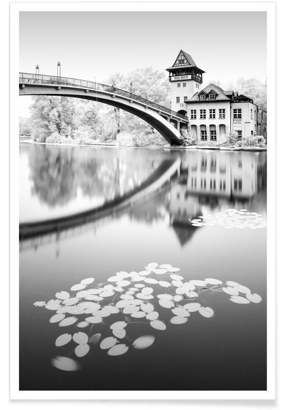 Zwart en wit, Hidden II Abtei Tower - Berlin poster