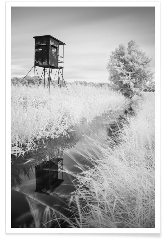 Noir & blanc, Nuthe Tower -  Luckenwalde affiche