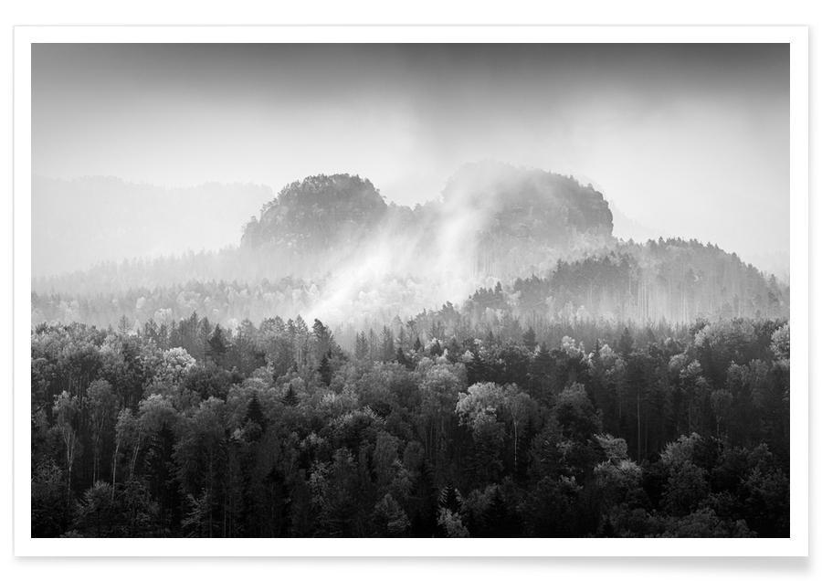 Noir & blanc, Lorenzsteine - Elbsandsteingebirge affiche