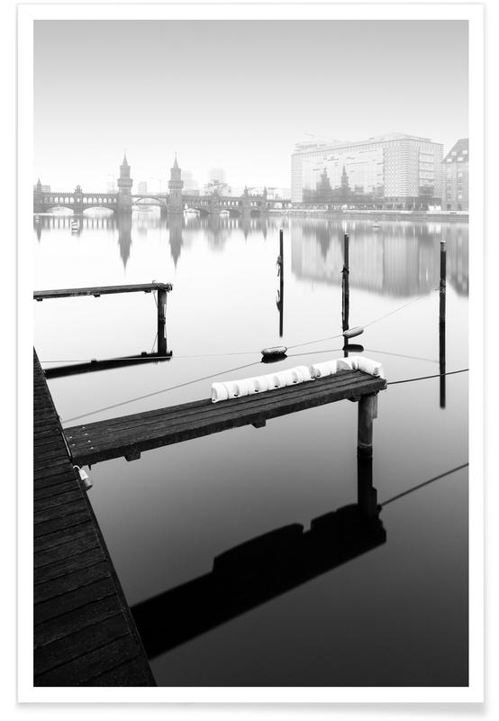 Paysages abstraits, Terre, Voyages, Noir & blanc, Détails architecturaux, Berlin, New East Port Ii   Berlin 2020 affiche