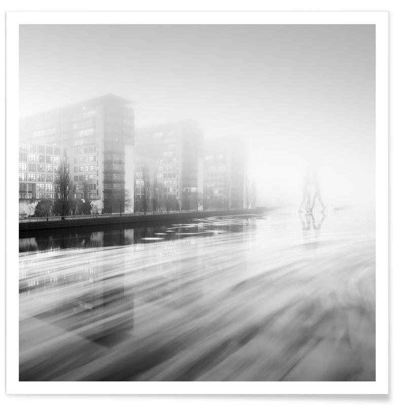 Berlin, Architectural Details, Abstract Landscapes, Black & White, Travel, Molecule Men On Ice Ii | Berlin 2016 Poster