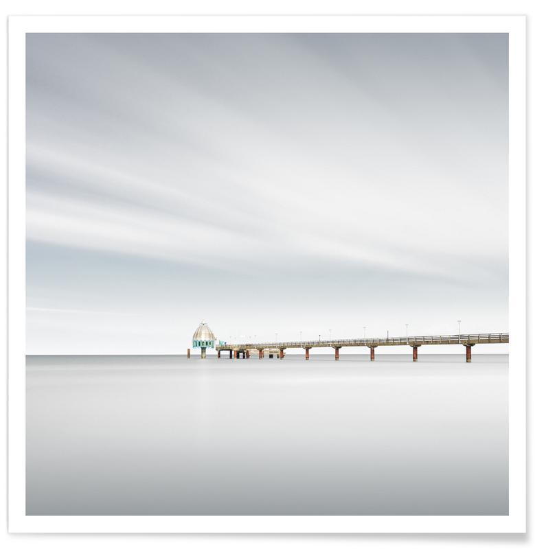 Paysages abstraits, Voyages, Noir & blanc, Détails architecturaux, Zingst Pier Ii | Zingst 2021 affiche