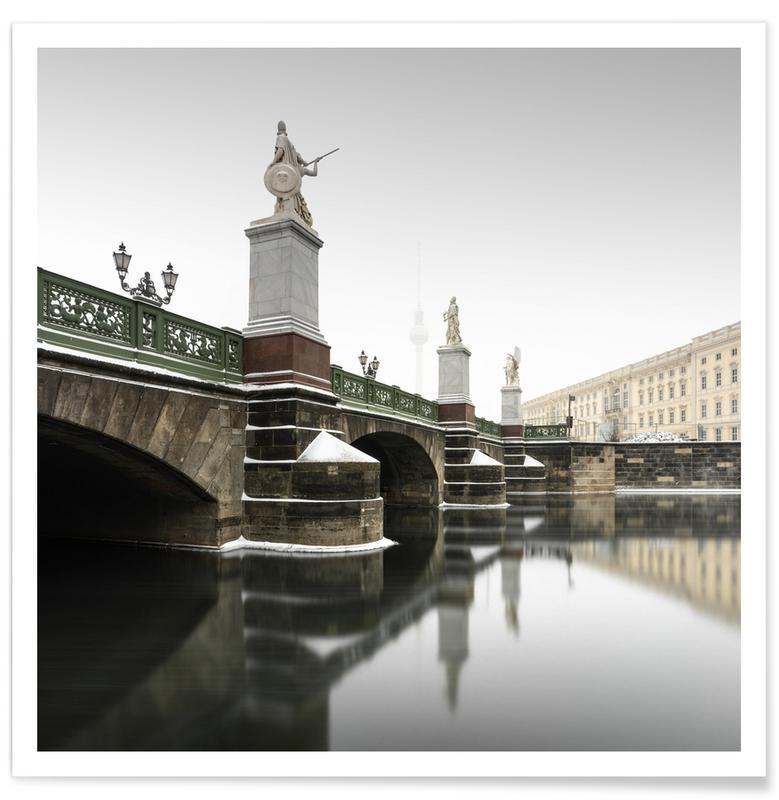 Architectural Details, Abstract Landscapes, Black & White, Travel, Schlossbrücke | Berlin 2021 Poster
