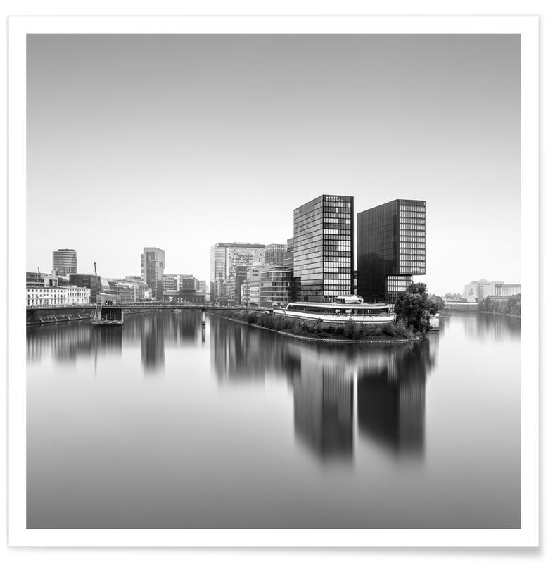 Architectural Details, Abstract Landscapes, Black & White, Travel, Medienhafen Ii | Düsseldorf 2020 Poster