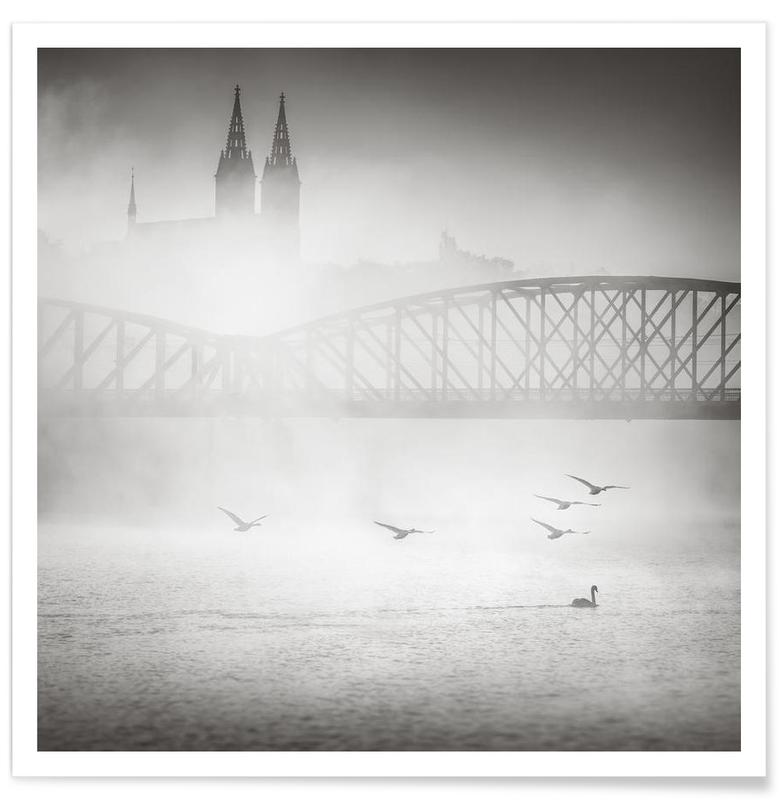 Black & White, Bridges, Sights & Landmarks, Prague - Bazilika svatého Petra a Pavla Poster