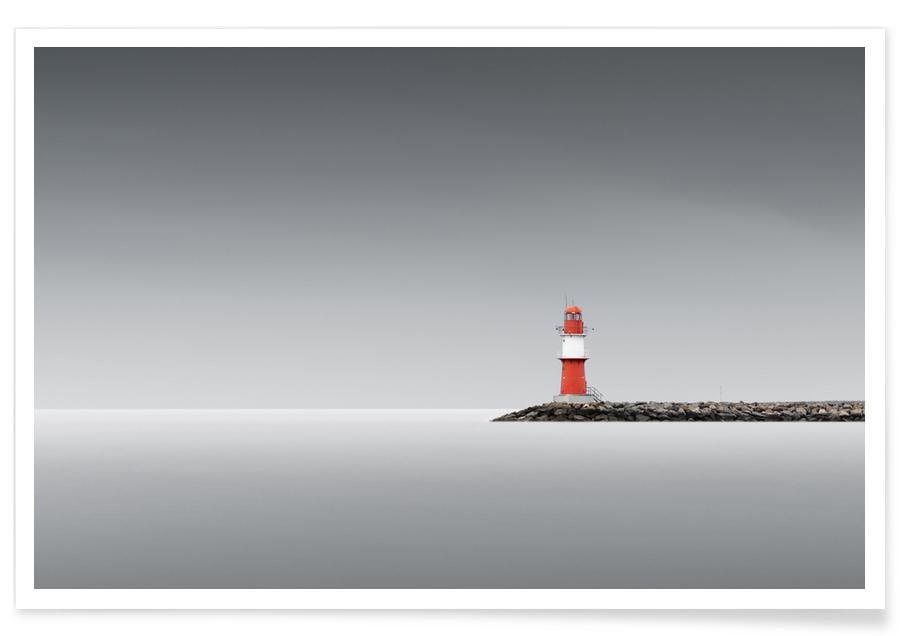 Paysages abstraits, Voyages, Noir & blanc, Détails architecturaux, Lighthouse East | Warnemünde 2021 affiche