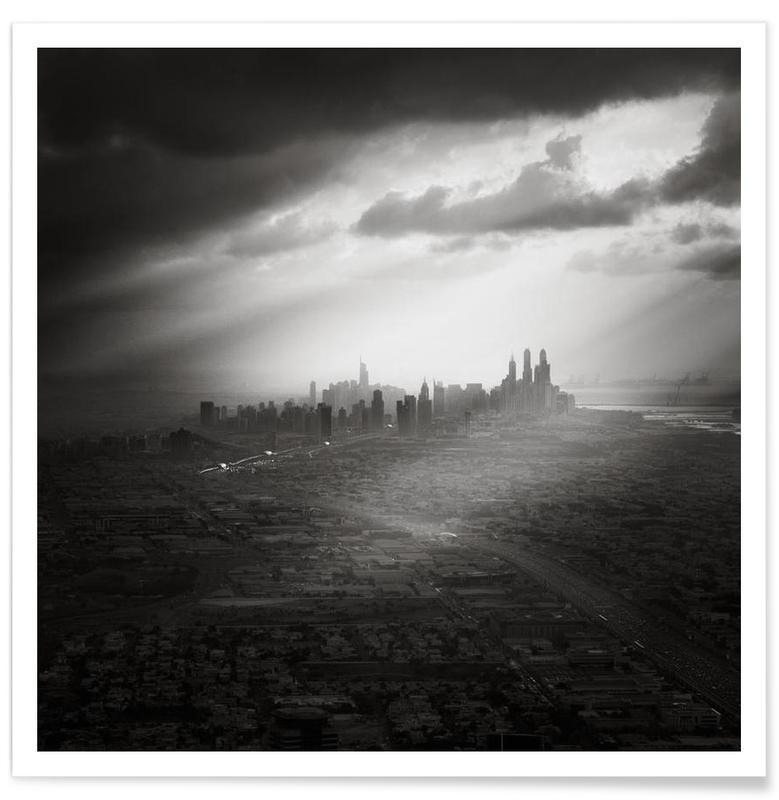 Noir & blanc, Skylines, UAE - Marina Skyline affiche