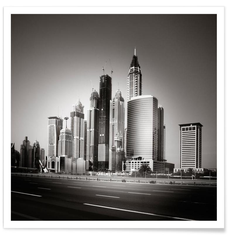 Zwart en wit, Skylines, Wolkenkrabbers, Urban Forest poster