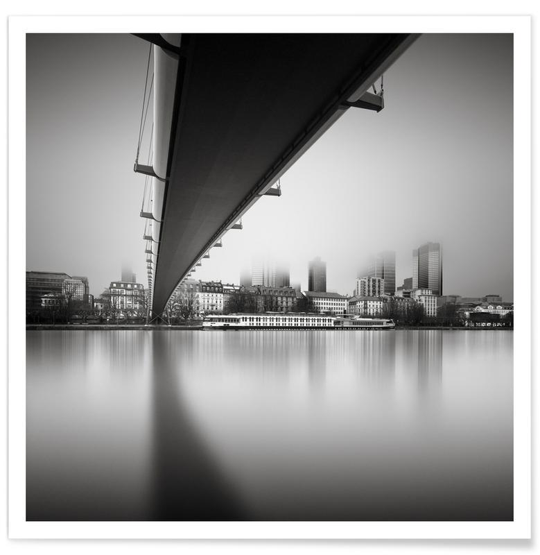 Zwart en wit, Bruggen, Frankfurt, Frankfurt Financial District poster