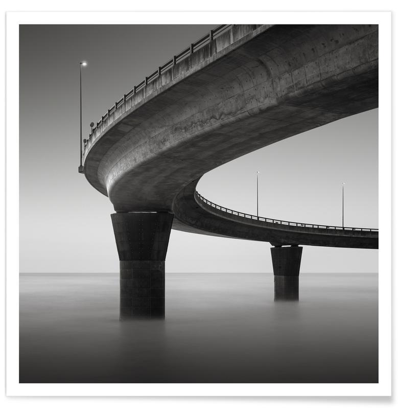 Détails architecturaux, Noir & blanc, Ponts, Japan Kyokusen affiche