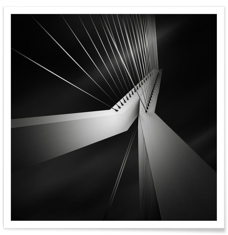 Ponts, Rotterdam, Noir & blanc, Détails architecturaux, Metropolis Erasmusbrug affiche