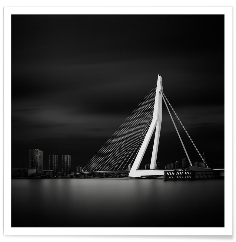 Ponts, Rotterdam, Noir & blanc, Détails architecturaux, Metropolis Erasmusbrug 2 affiche