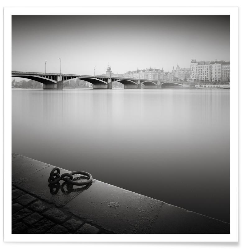 Zwart en wit, Bruggen, Bezienswaardigheden en monumenten, Prague Vlatva River poster