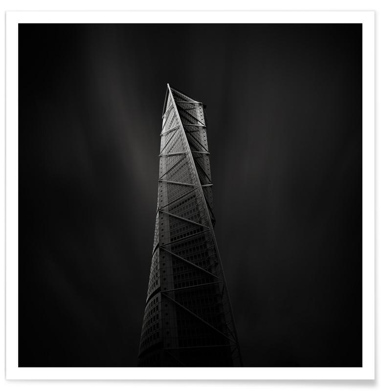 Wolkenkrabbers, Bezienswaardigheden en monumenten, Zwart en wit, Santiago Calatrava Turning Torso poster