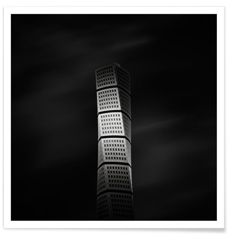 Wolkenkratzer & Hochhäuser, Schwarz & Weiß, Sehenswürdigkeiten & Wahrzeichen, Santiago Calatrava Turning Torso -Poster
