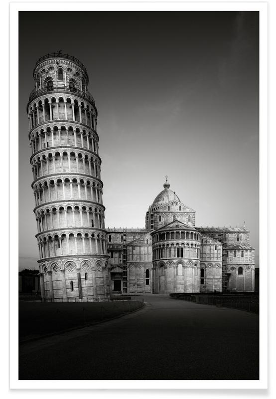 Black & White, Sights & Landmarks, Tuscany Torre De Pisa Poster