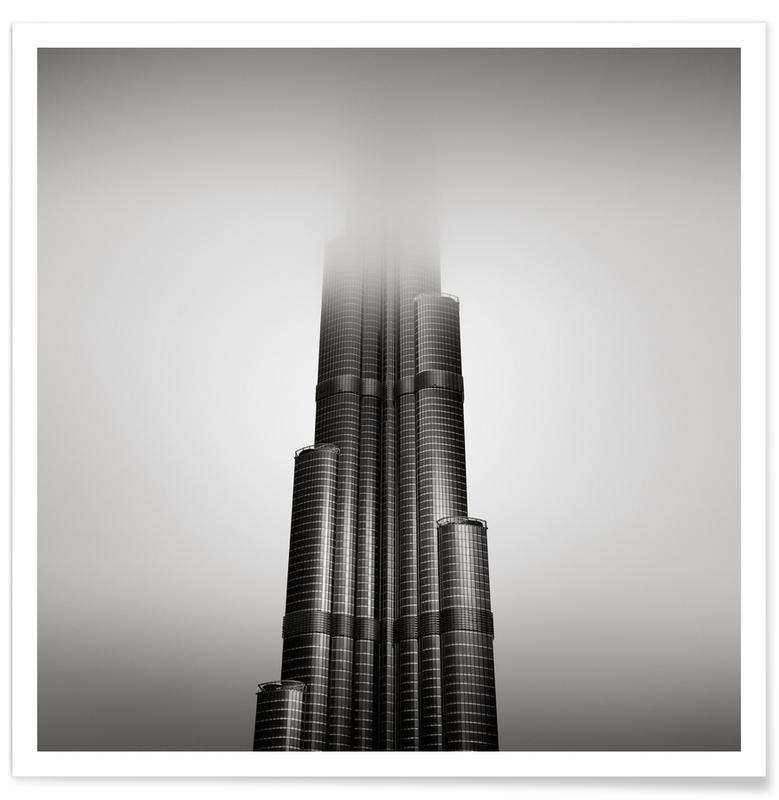 Wolkenkratzer & Hochhäuser, Schwarz & Weiß, Sehenswürdigkeiten & Wahrzeichen, UAE Burj Khalifa -Poster
