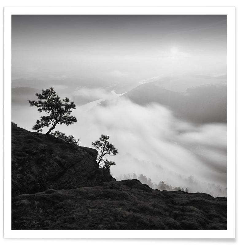 Skies & Clouds, Trees, Black & White, Above and Beyond, Lilienstein Poster