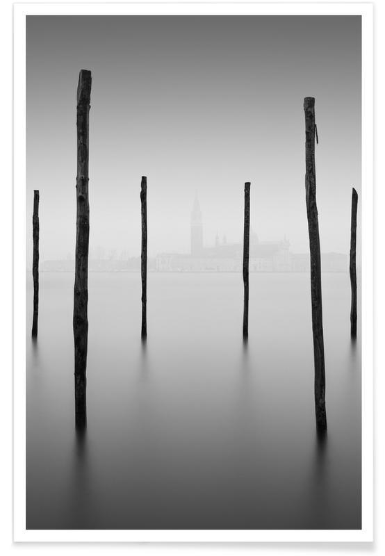 Ocean, Lake & Seascape, Black & White, Venice, Venezia - Lasciare Poster