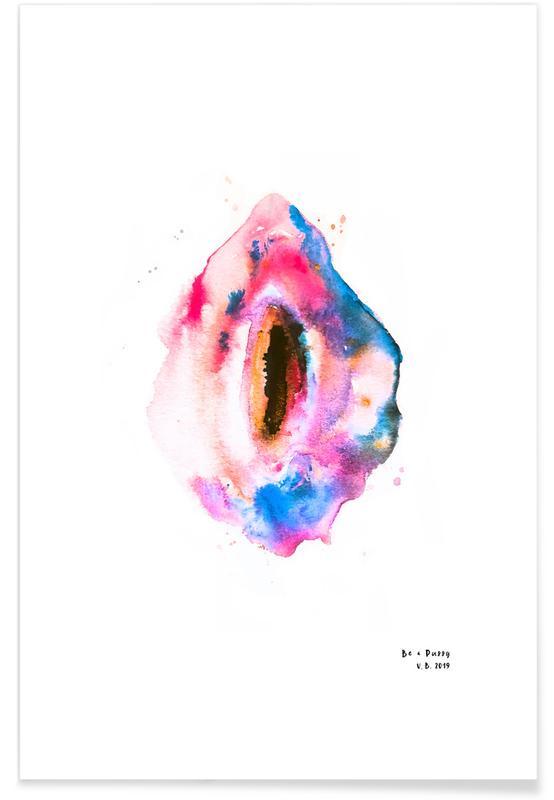 Body Close-Ups, Watercolor Vulva Unicorn Poster