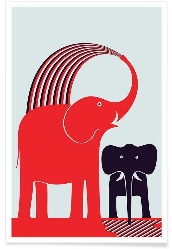 Éléphants, Art pour enfants, Red Elephant affiche