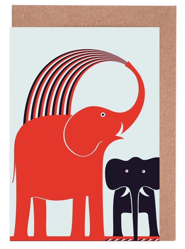 Red Elephant Greeting Card Set