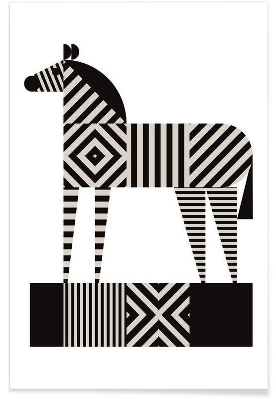 Noir & blanc, Zèbres, Zebra Stripe affiche