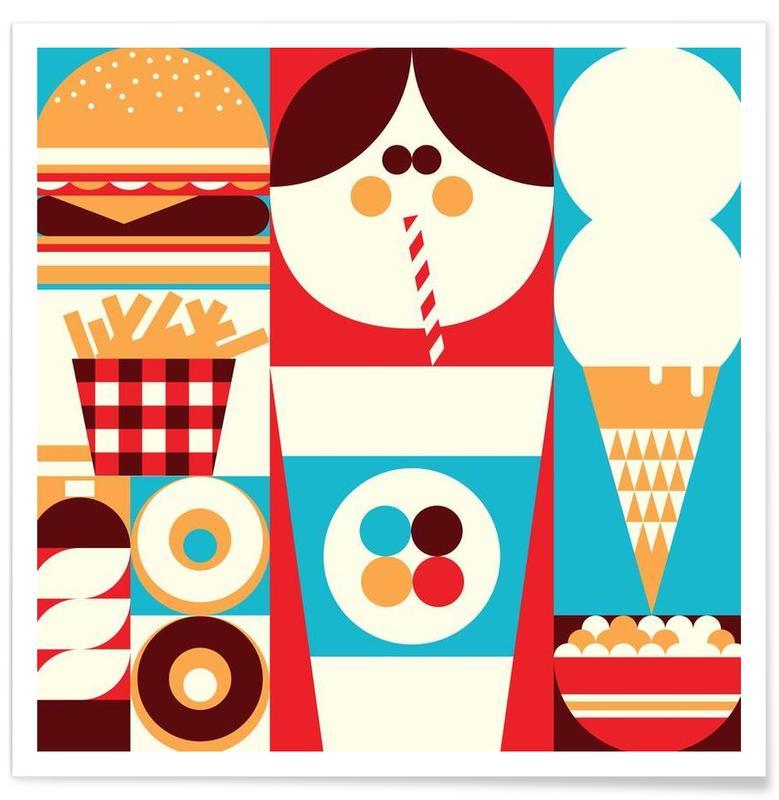 Burgers, Fun Food Poster