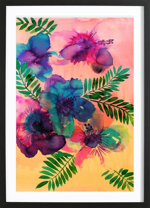 Skye Hibiscus Floral -Bild mit Holzrahmen