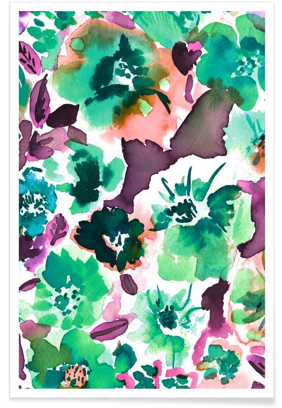 , Zoe Floral Ocean Green Poster