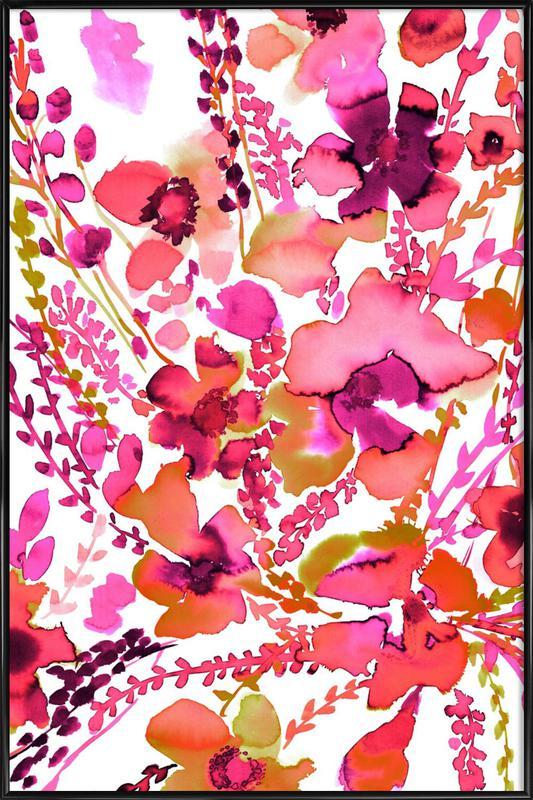 Amelia Floral Pink -Bild mit Kunststoffrahmen