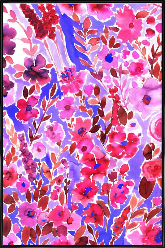 Isla Floral Purple -Bild mit Kunststoffrahmen