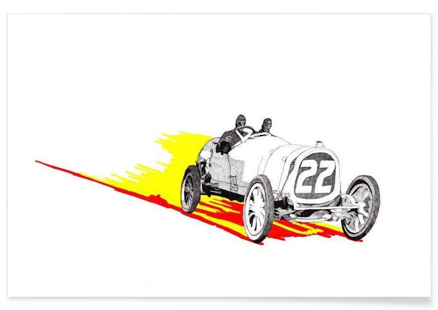 Cars, Classic Racing Car Pencil Drawing Poster