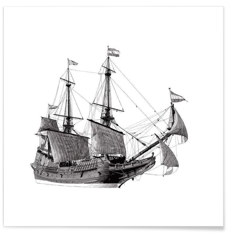 Schwarz & Weiß, Boote, Batavia -Poster