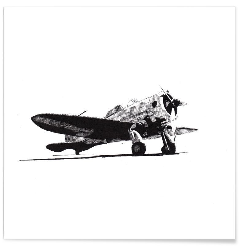 Schwarz & Weiß, Flugzeuge, Seversky-Ebene-Bleistiftzeichnung -Poster
