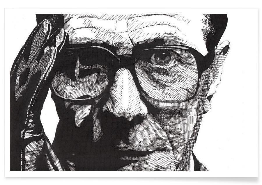 Schwarz & Weiß, Gary Oldman-Bleistiftzeichnung -Poster