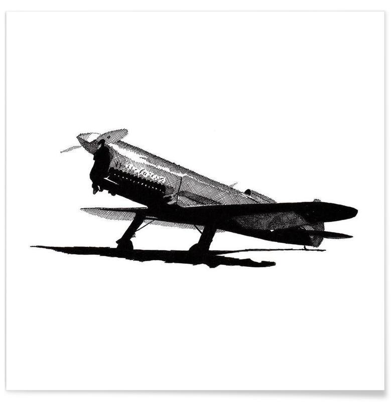 Zwart en wit, Vliegtuigen, Bruin Race Vliegtuig - potloodtekening poster