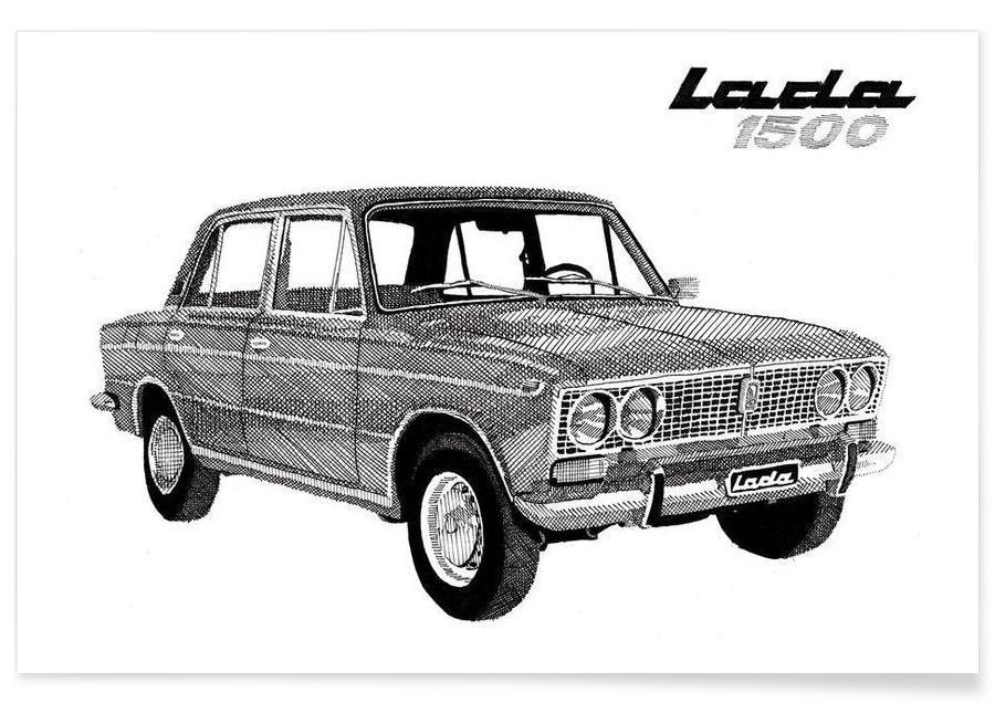 Black & White, Cars, Lada 1500 Pencil Drawing Poster