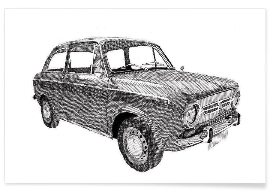 Schwarz & Weiß, Autos, Fiat 850 -Poster