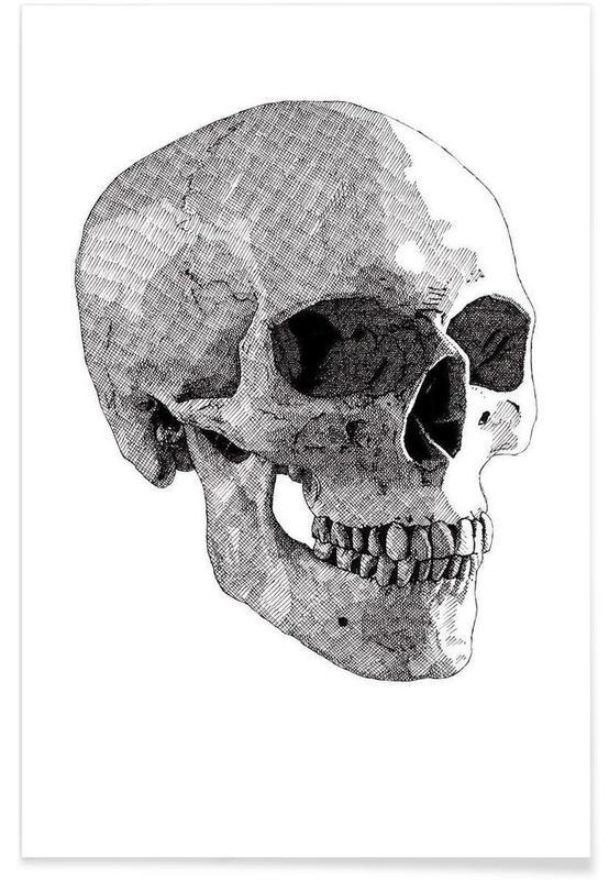 Zwart en wit, Schedels, Skull 2 poster