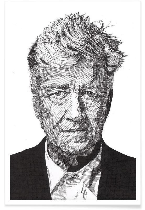 Schwarz & Weiß, David Lynch-Bleistiftzeichnung -Poster