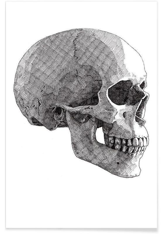 Zwart en wit, Schedels, Skull 3 poster
