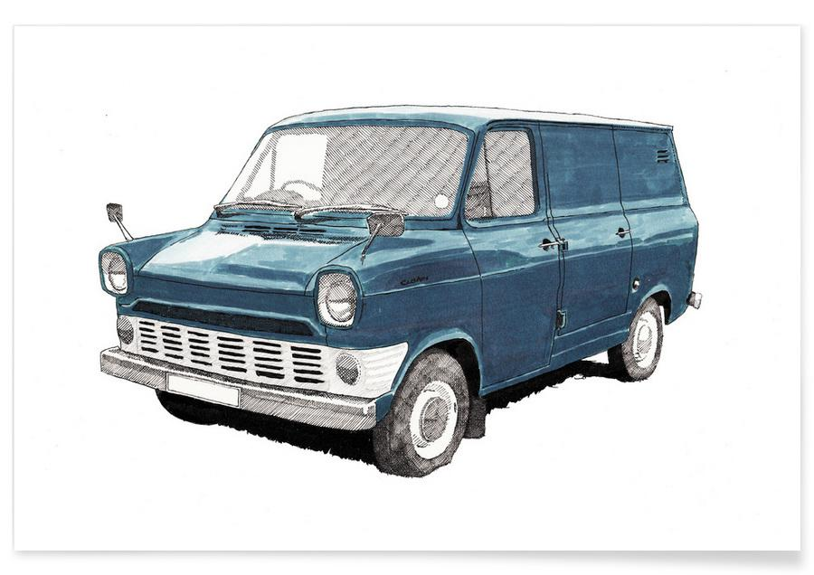 Autos, Ford Van-Bleistiftzeichnung -Poster