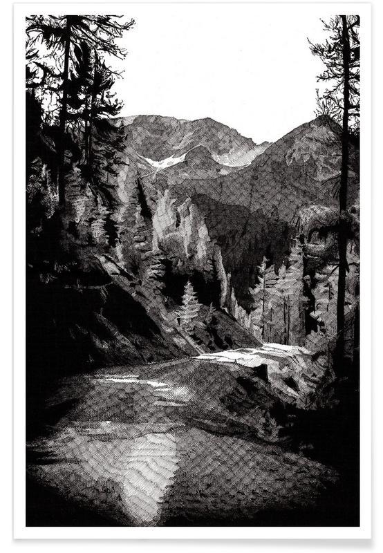 Bergen, De weg door het bos - potloodtekening poster