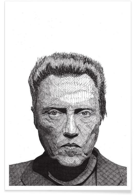 Zwart en wit, Christopher Walken - potloodtekening poster