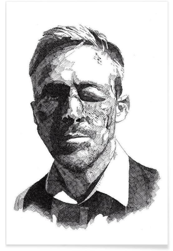 Schwarz & Weiß, Ryan Gosling-Bleistiftzeichnung -Poster